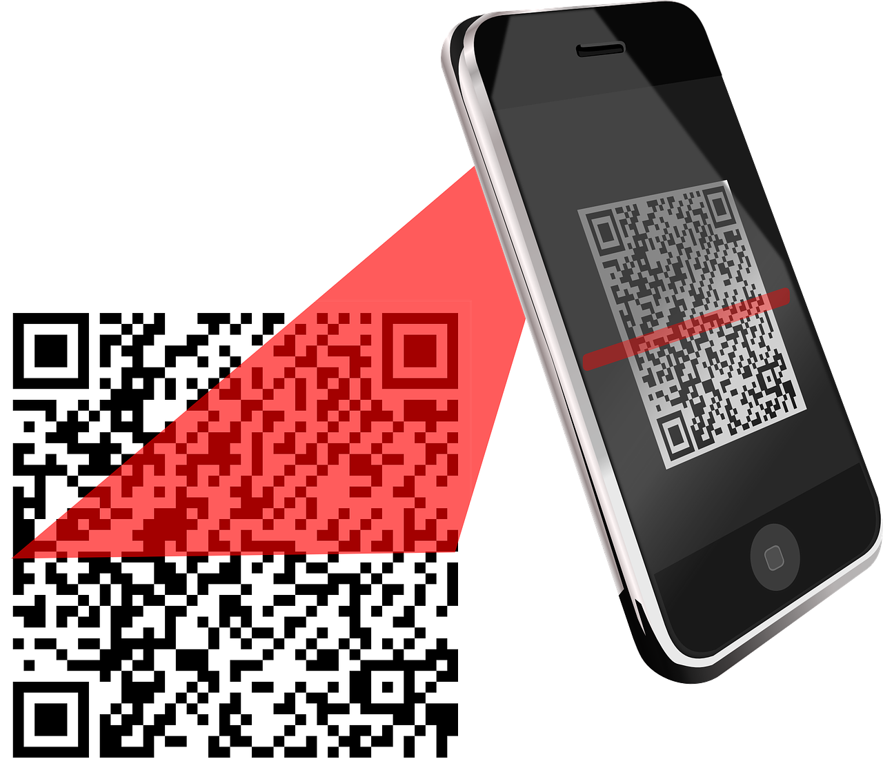 Image of smartphone with QR code